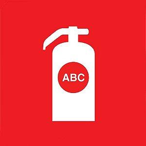 Placa de Sinalização Fotoluminescente - Extintor Pó Químico ABC 20x20 cm