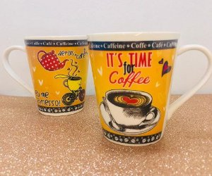 CANECA IT'S TIME FOR COFFEE AMARELA - UNIDADE