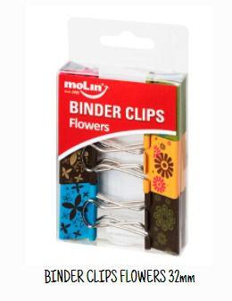 BINDER CLIPS FLOWERS 32MM MOLIN