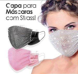 Capa para máscara com strass - rosa bebê
