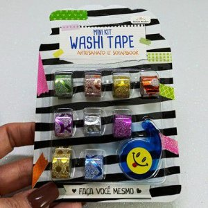 KIT BLISTER MINI WASHI TAPE COM DISPENSER - 10 UNIDADES