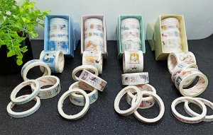 KIT WASHI TAPE ANIMALS C/5 ROLOS C/4