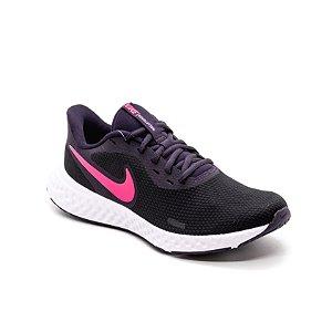 Tênis Esportivo Nike Revolution 5 Feminino Preto e Rosa