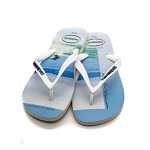 Chinelo Havaianas Hype Masculino Branco e Azul Marinho