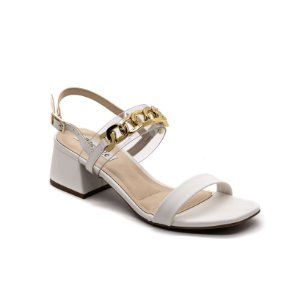 Sandália Salto Grosso Bebecê Feminino Branco