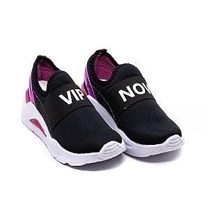Tênis Casual Via Vip Jogging Infantil Feminino Preto e Pink