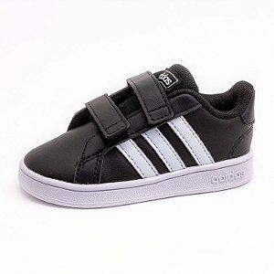 Tênis Casual Infantil Adidas Grand Court Unissex Preto e Branco