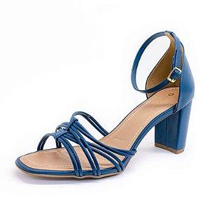 Sandália Salto Grosso Lu Rezende Feminina Azul