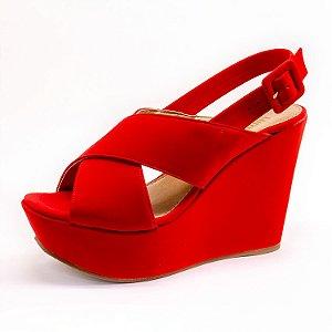 Sandália Plataforma Lumman Feminina Vermelha
