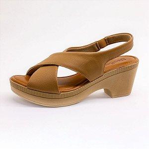 Sandália Salto Grosso Usaflex Feminina Camel