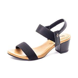 Sandália Salto Grosso Usaflex Feminina Preta
