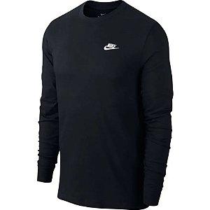 Camisa Nike Manga Longa Sportswear Masculina Preta