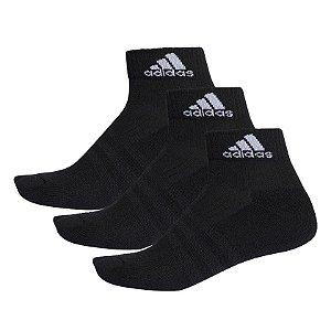 Kit meia Adidas Ankle Mid Cushion 3S Unissex Preta