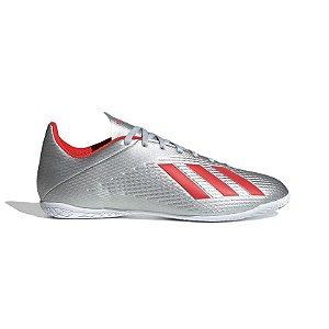 Tênis Futsal Adidas X 19.4  Masculino Cinza e Vermelho