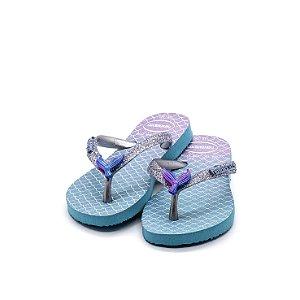 Chinelo Havaianas Kids Slim Glitter Feminino Azul