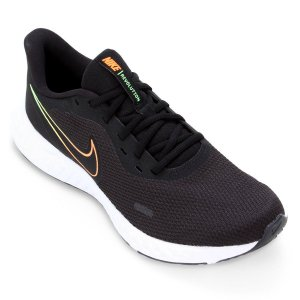 Tênis Esportivo Nike Revolution 5 Masculino Preto e Laranja