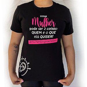 Camiseta Baby Look Feminina Frase 01 Eu Empreendo - Preta