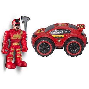 Boneco Com Carrinho Work Force Fireman - Bs Toys