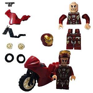 Kit  Com 8 Blocos De Montar Super Herois Com Moto