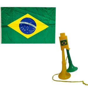 Kit Brasil Bandeira + Corneta  Dupla