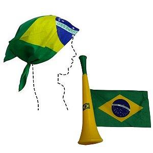 Kit Brasil Lenço Tipo Bandana C/ Corneta/Banderinha