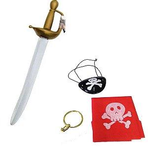 Kit Pirata 4 Peças , Espada Tapa Olho, Brinco , Bandana
