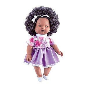 Boneca Nelly Doll Negra 100 Frases - Milk Brinquedos