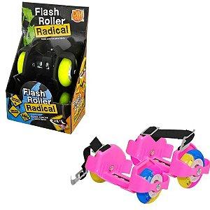 Flash Roller Radical Rosa Rodas Com Luz Para Tênis - DM Radical