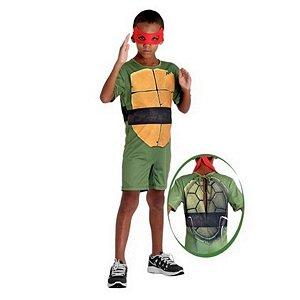 Fantasia Raphael Curto Infantil - Tartarugas Ninjas - Tamanho M