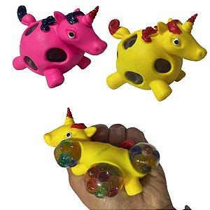 2 Squish Fidget Toy Bola de apertar Unicórnio c/ Orbs Sortido