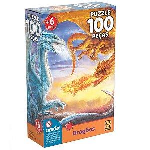 Quebra Cabeça Puzzle 100Pcs Dragões - Grow