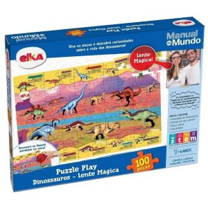 Puzzle Play Dinossauros 100 Peças Lente Mágica - Elka