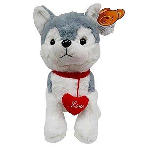 Cachorro Husky Na Coleira Love Pelúcia  - BBR Toys