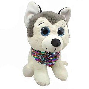 Cachorro Pelúcia Olho Azul Com Lenço - BBR Toys