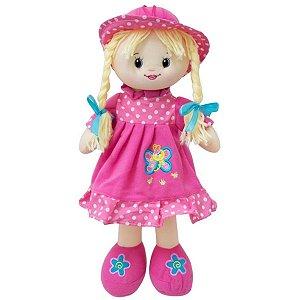 Boneca De Pano Macia Bebê Menina 30 Cm - Bbr Toys