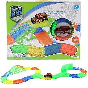 Brinquedo Infantil Carrinho e Pista Fluorescente c/ 150 peças - BBR Toys