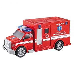 Carro Fricção Com Luz E Som Ambulância - Cores Sortidas - Dm Toys