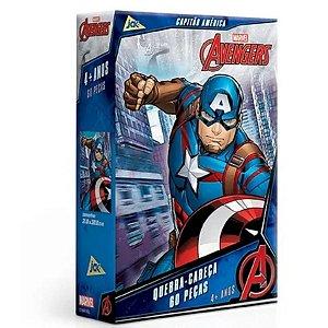 Quebra Cabeça Avengers Capitão América 60 Peças - Toyster