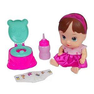 Boneca Litlle Dolls Faz Xixi Morena - DiverToys