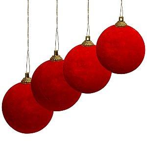 Bola Camurça Natal 4cm Com 8und