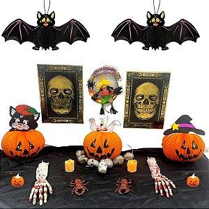 Super kit decoração mesa Halloween com 17 peças