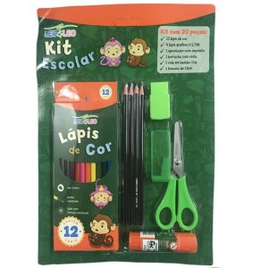 Kit Escolar Com 20 Peças Verde - Leo & Leo