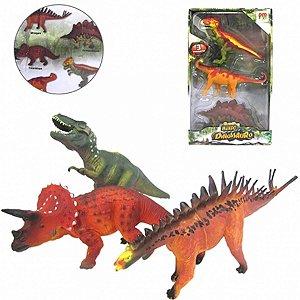 Mundo Dos Dinossauros Com 3 Peças