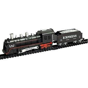 Pista Trem Locomotiva Com Luz E Som