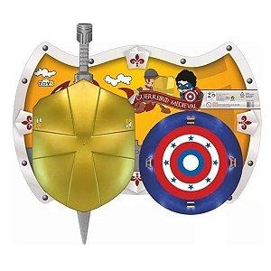 Kit Guerreiro Medieval 1 espada E 2 escudos