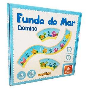 Dominó Didático Fundo do Mar - 28 Peças - Feito em Madeira