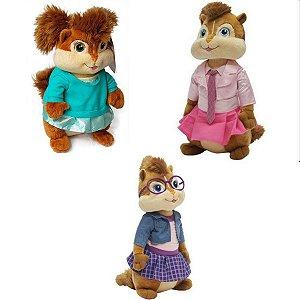 Kit Pelúcias Alvin e os Esquilos Jeanette Britanny e Eleanor