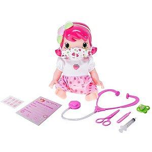 Boneca Baby Moranguinho Dodói Faz Xixi Com Máscara