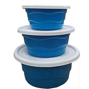 Kit c/ 3 Vasilhas C/ tampa Bacia Grande Média Pequena Azul