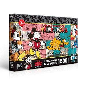 Quebra-Cabeça Panorâmico Mickey Mouse e Friends 1500 peças